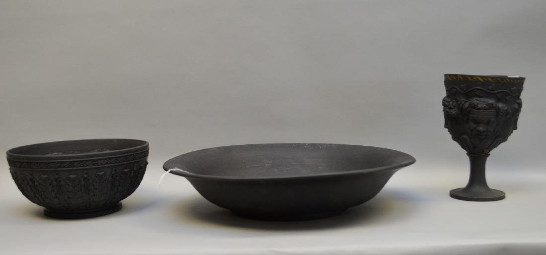 3 Wedgwood black Basalt pieces, centerpiece bowl,