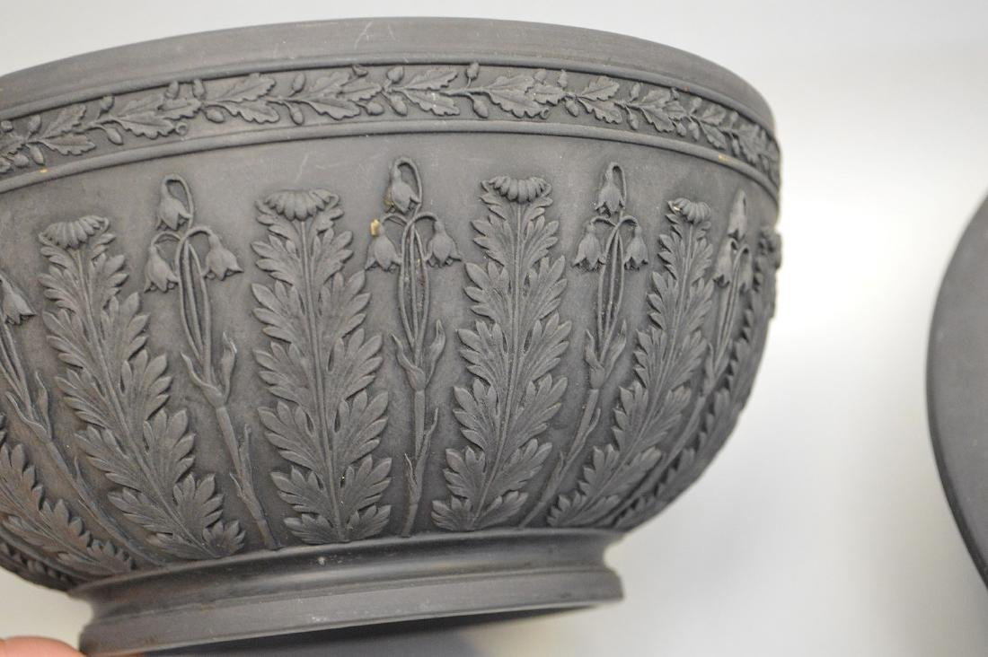 3 Wedgwood black Basalt pieces, centerpiece bowl, - 3