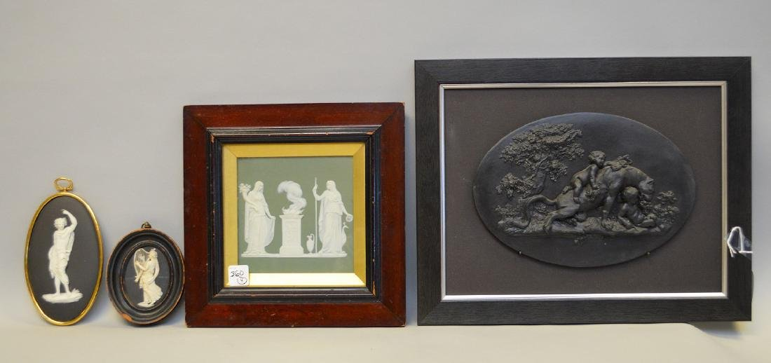 Framed lion & putti oval Wedgwood black Basalt plaque