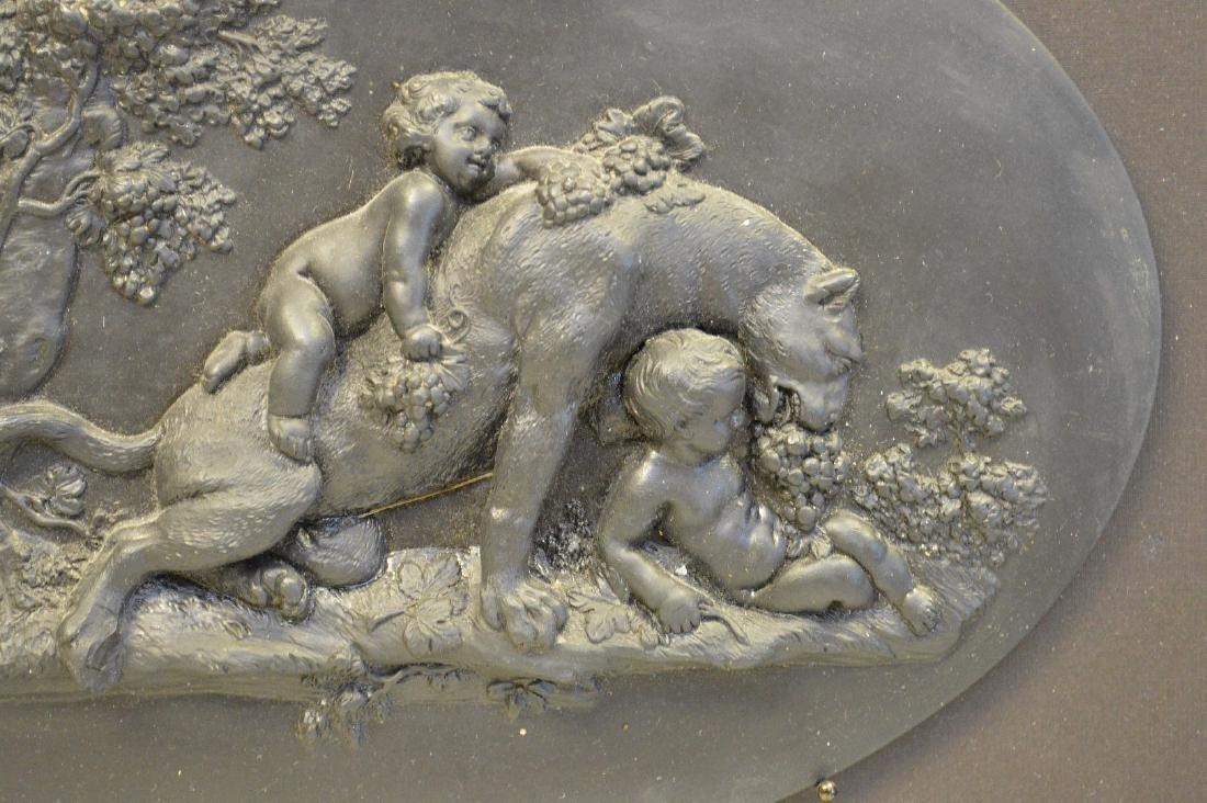 Framed lion & putti oval Wedgwood black Basalt plaque - 5