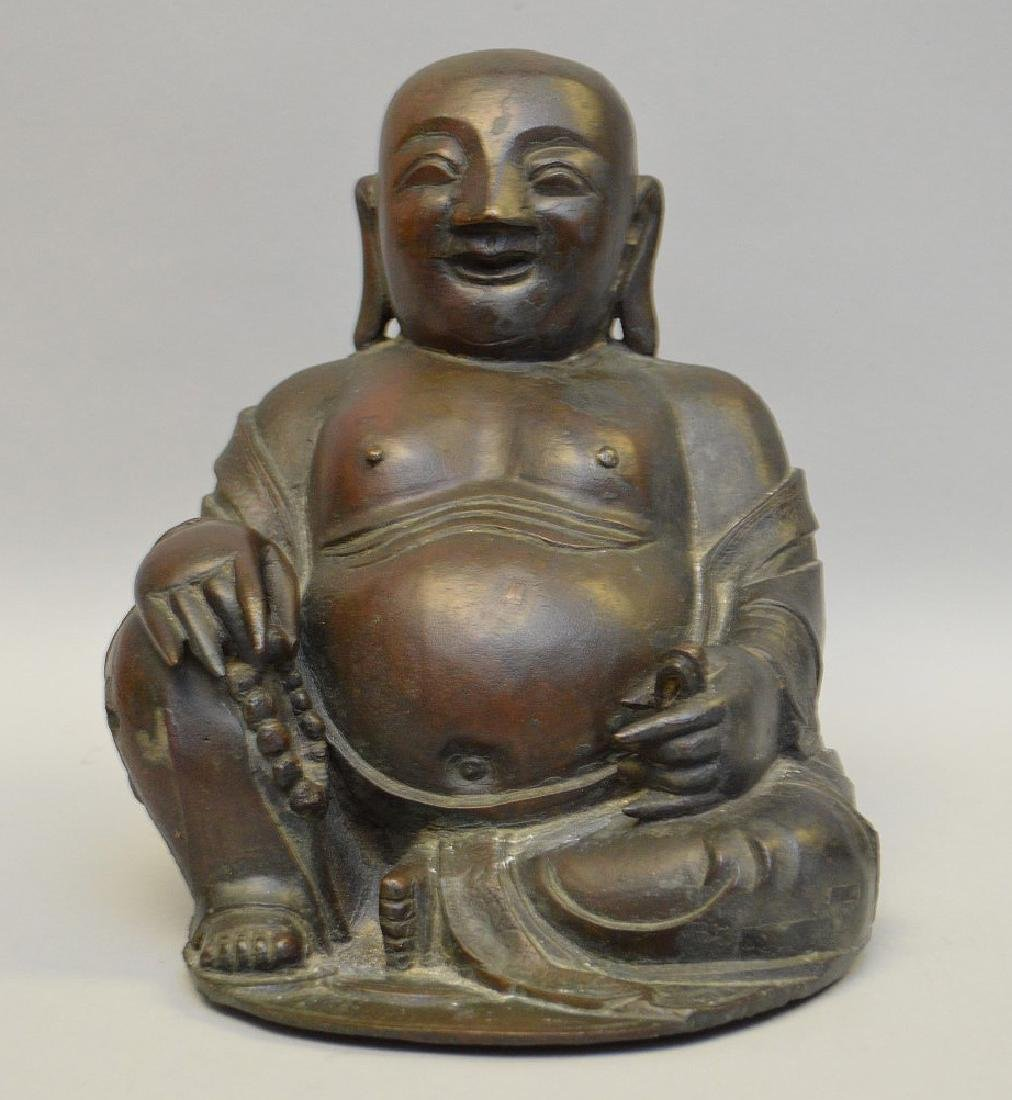 "Seated bronze buddha, 8""h"