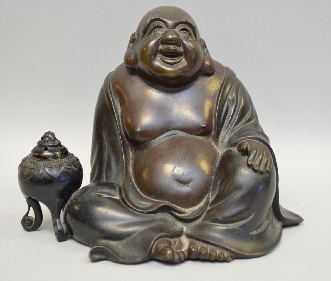 "Laughing seated bronze buddha, 7""h"