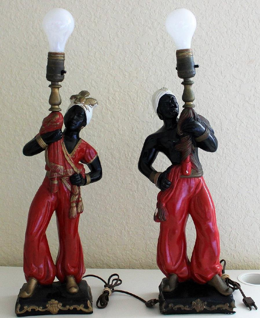 Pair painted 1960's Nubian Blackamoor lamps with
