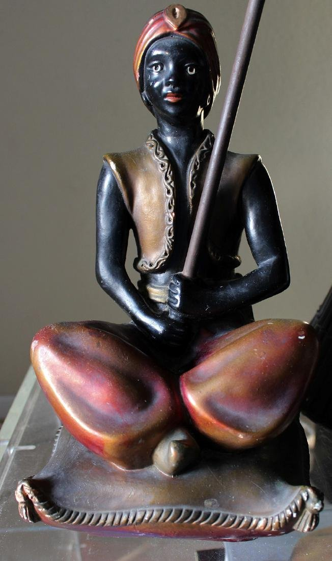 Seated blackamoor lamp, painted metal with bamboo - 2