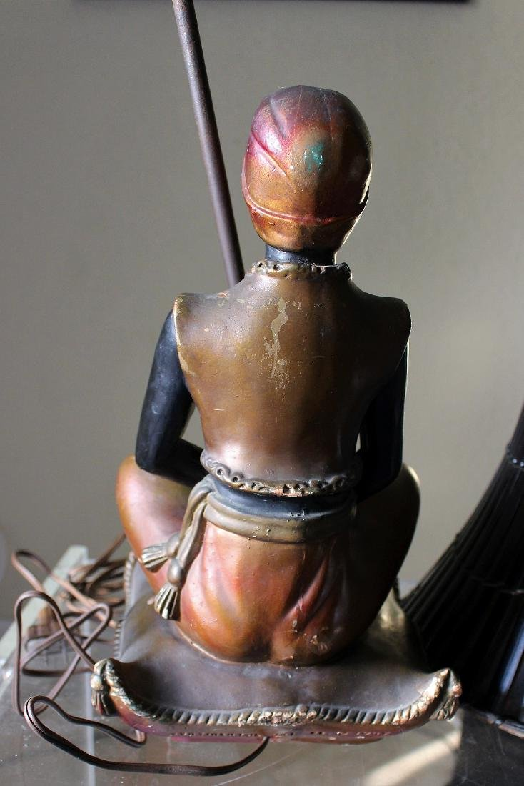 Seated blackamoor lamp, painted metal with bamboo - 4