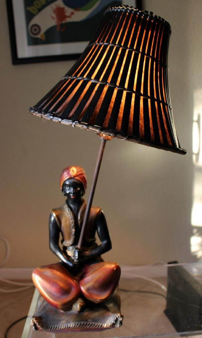 Seated blackamoor lamp, painted metal with bamboo - 8