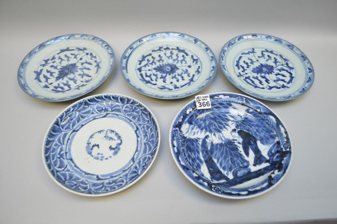 "Lot of 5 antique Chinese blue & white plates, 7 1/8""dia"