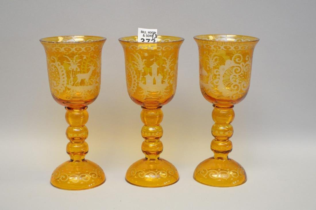 """3 Bohemian goblets, 7""""h"""