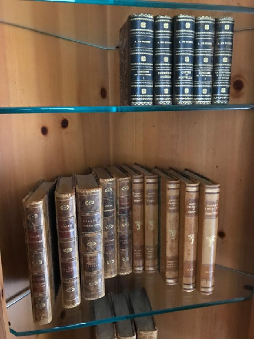 Approx. 60 Antique Books, mostly leather bounds