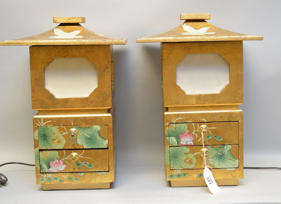 Pair Venetian style lanterns/lamps each with 2 drawers,