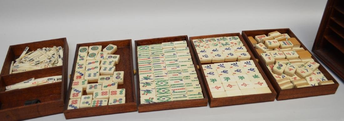 """Mahjong set in box with drawers, 6 1/2""""h x 9 1/2""""w - 2"""