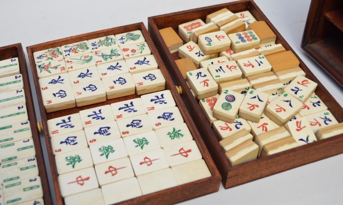 """Mahjong set in box with drawers, 6 1/2""""h x 9 1/2""""w - 3"""