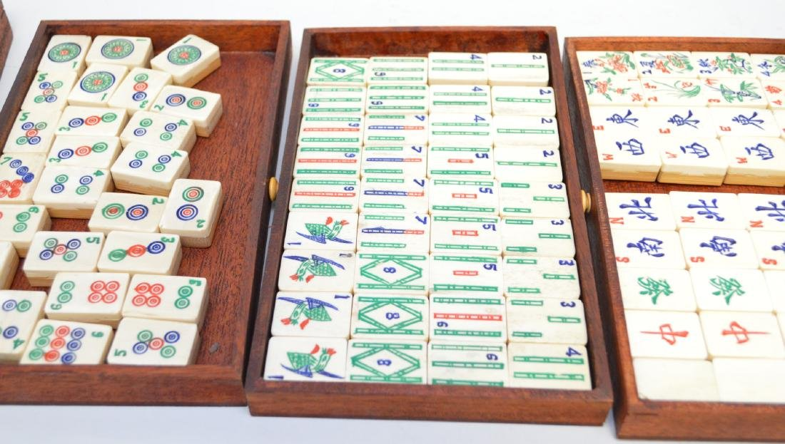 """Mahjong set in box with drawers, 6 1/2""""h x 9 1/2""""w - 4"""