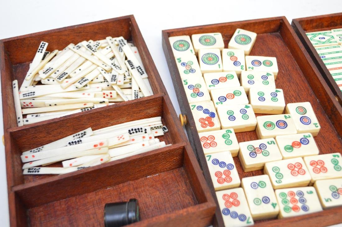 """Mahjong set in box with drawers, 6 1/2""""h x 9 1/2""""w - 5"""
