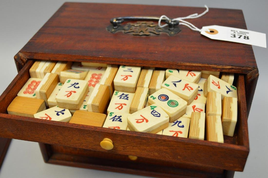 """Mahjong set in box with drawers, 6 1/2""""h x 9 1/2""""w - 8"""