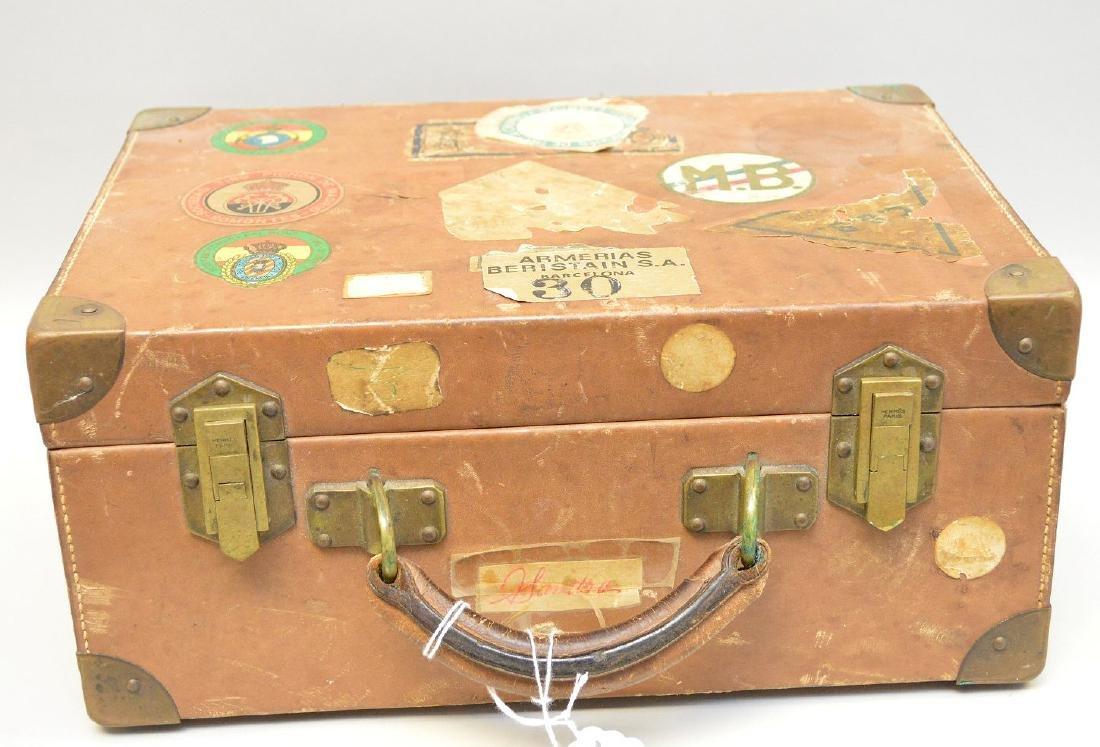 Hermes Paris leather divided interior gun case