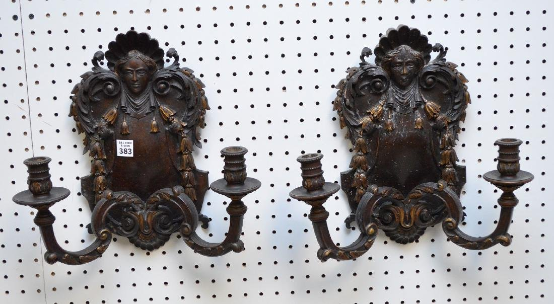 Pair carved wood 2 branch wall sconces with gilded