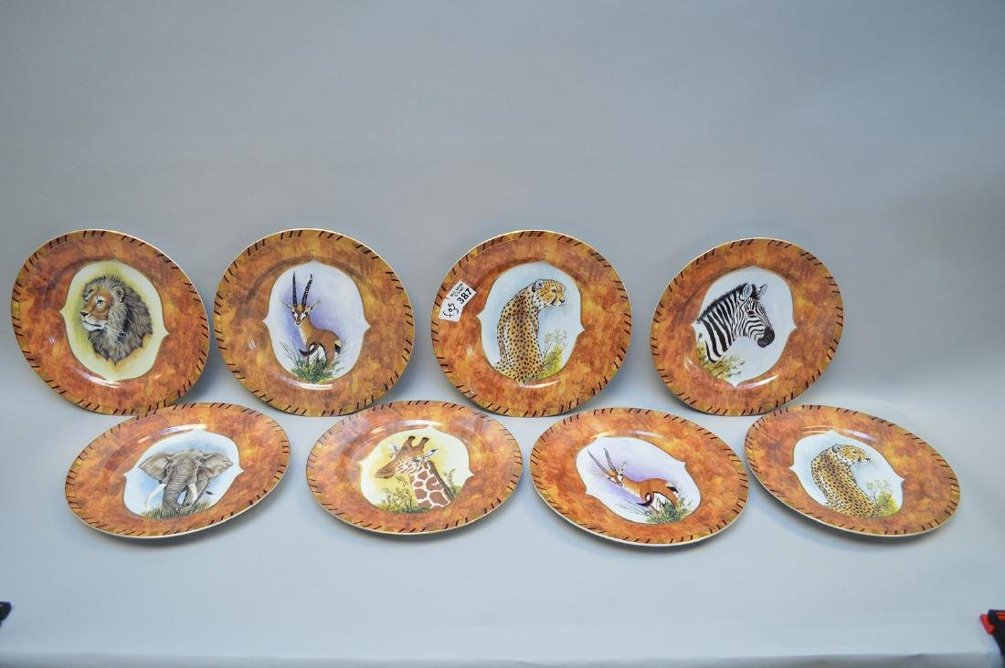 "8 African animal plates, Lynn Chase, 9 1/2""dia"