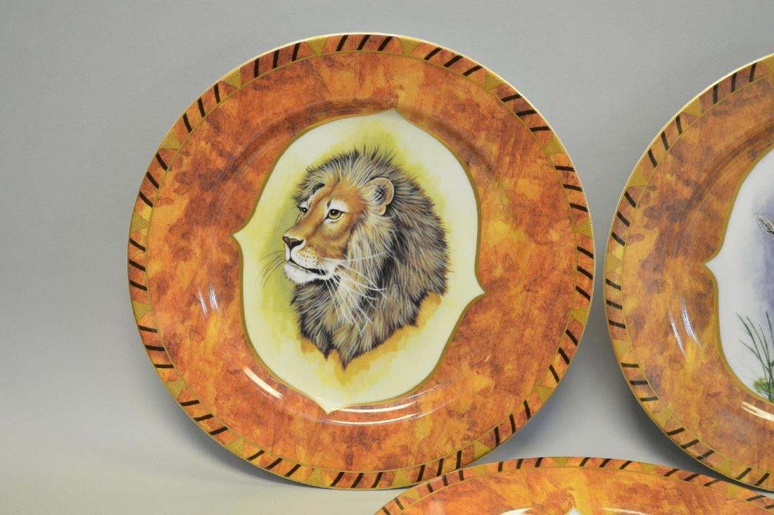 "8 African animal plates, Lynn Chase, 9 1/2""dia - 2"