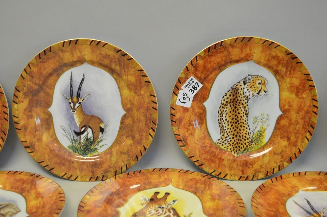 "8 African animal plates, Lynn Chase, 9 1/2""dia - 3"