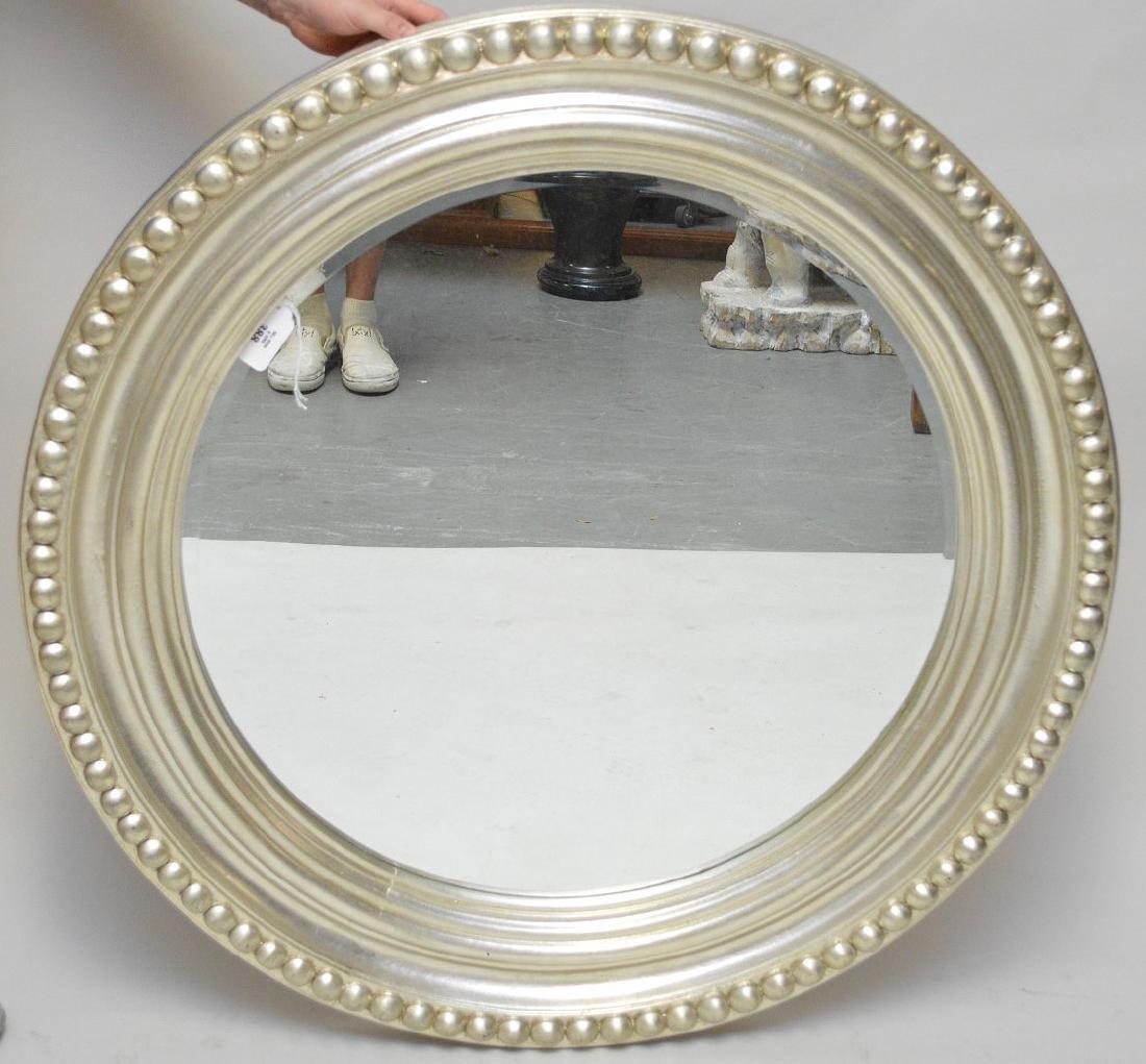 "Silver framed round mirror, 42""dia"