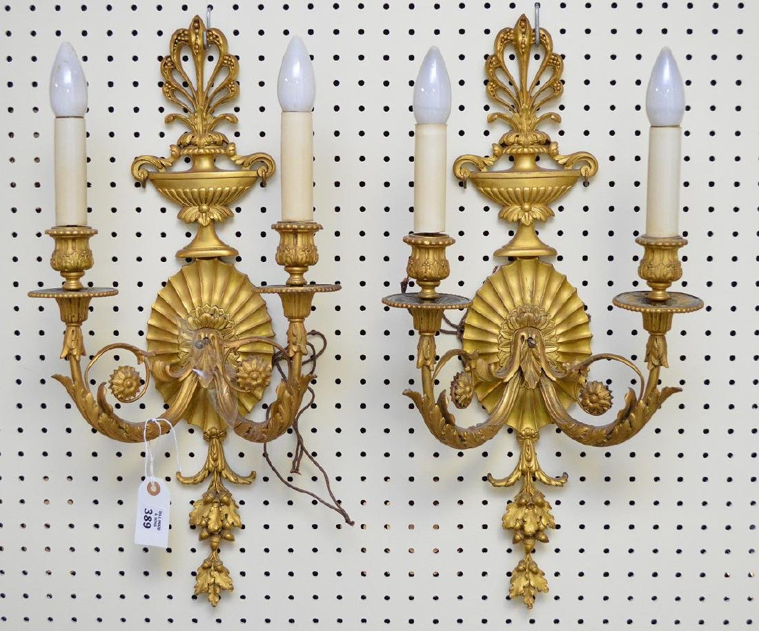 Dore' bronze double branch wall sconces with acorn