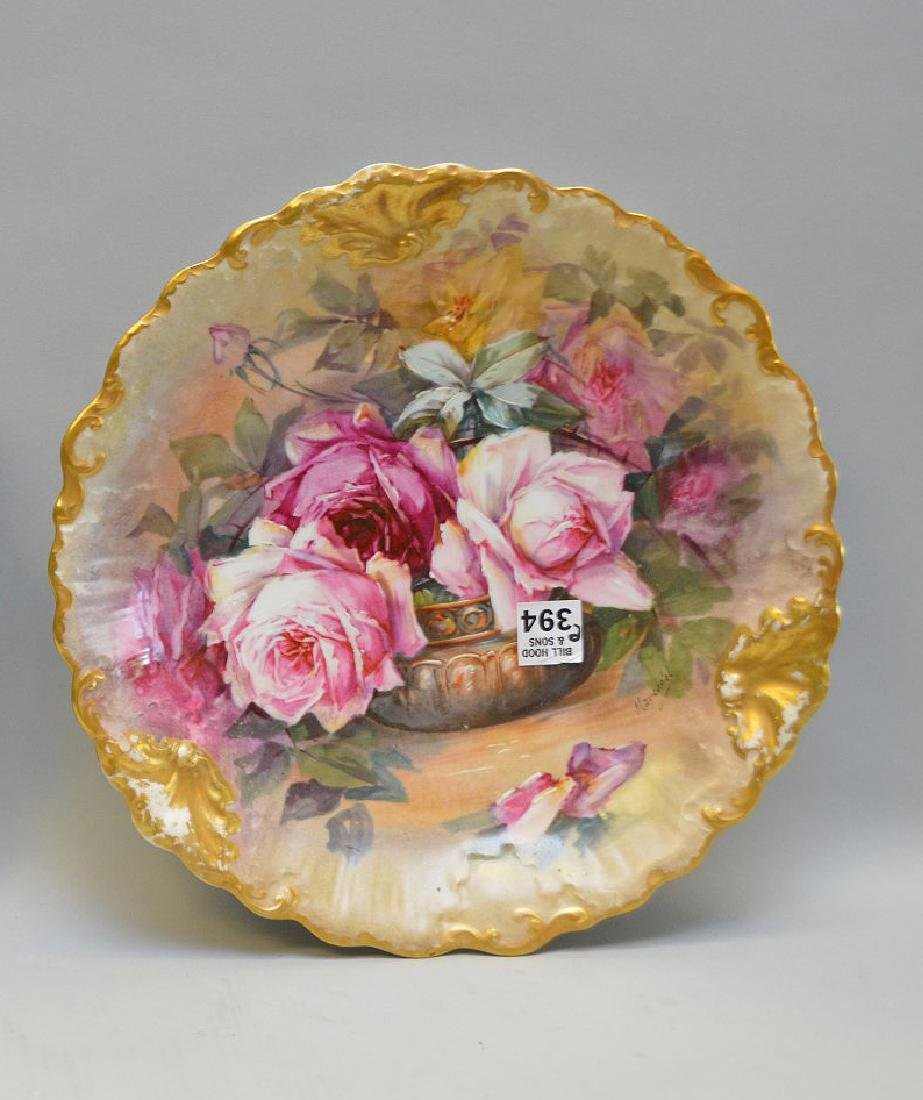 """Limoges hand painted plaque with roses, 12 1/2"""""""