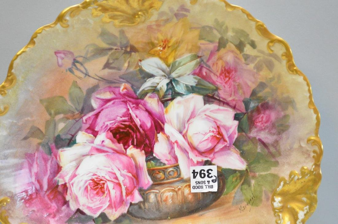 """Limoges hand painted plaque with roses, 12 1/2"""" - 2"""