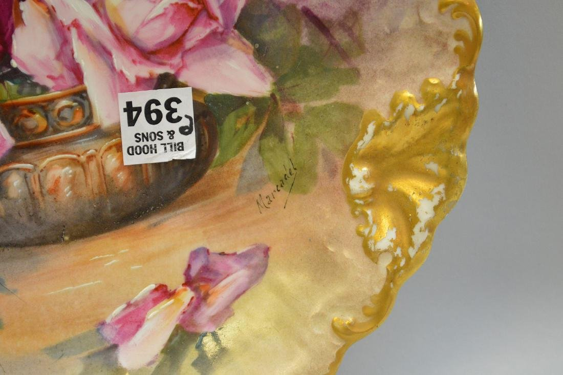 """Limoges hand painted plaque with roses, 12 1/2"""" - 3"""