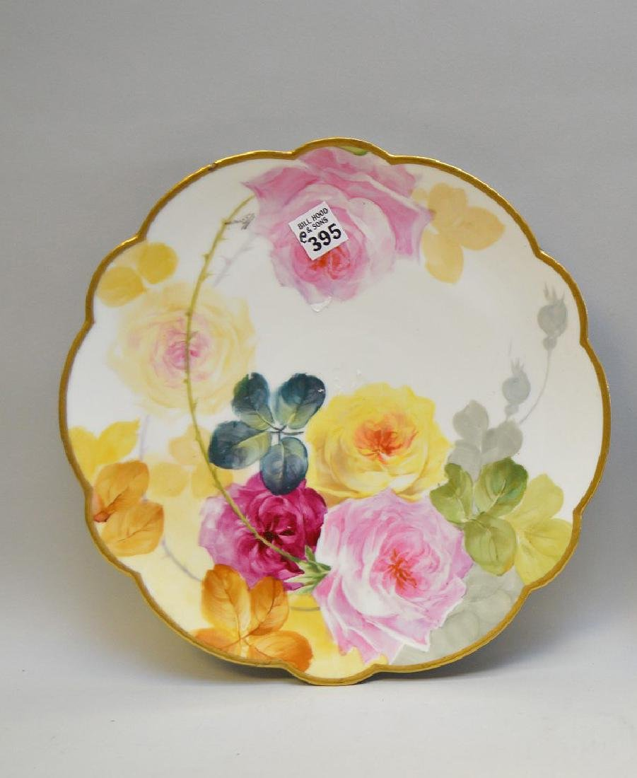 """Limoges hand painted plaque, pink with roses, 12 1/2"""""""