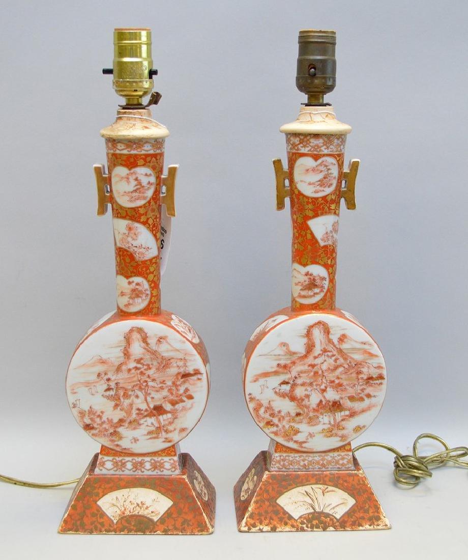 """Pair Kutani lamps, 17""""h"""