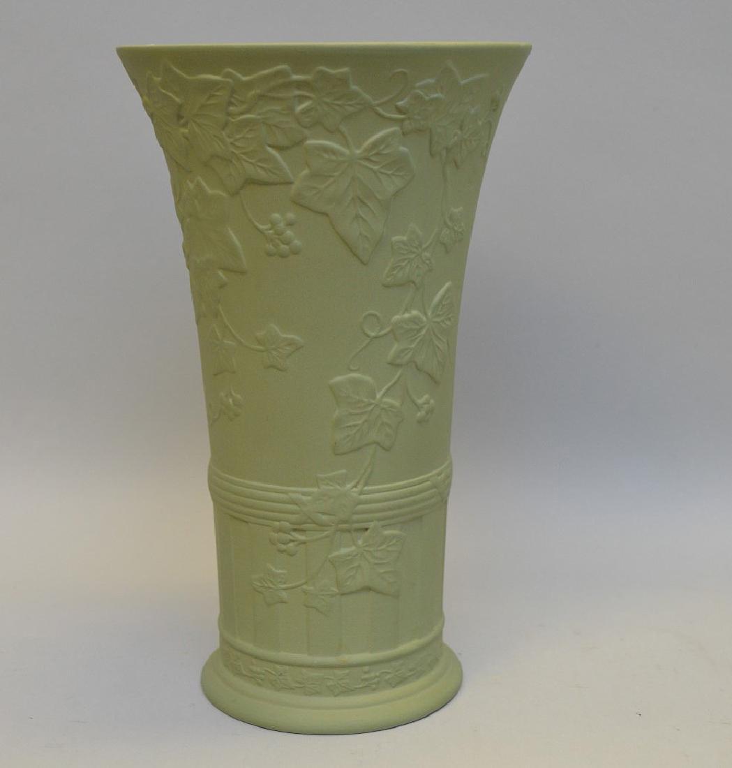 """Wedgwood green vase, 9 1/2""""h"""
