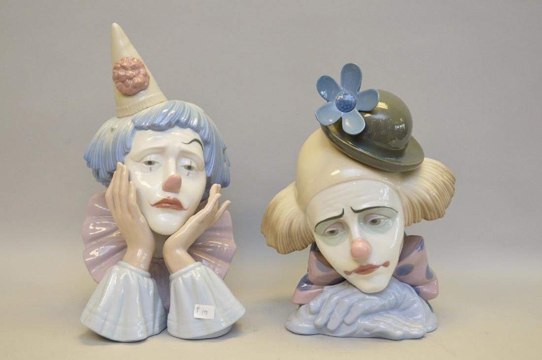 "2 Lladro clowns, 10""h (each) (one with stand)"