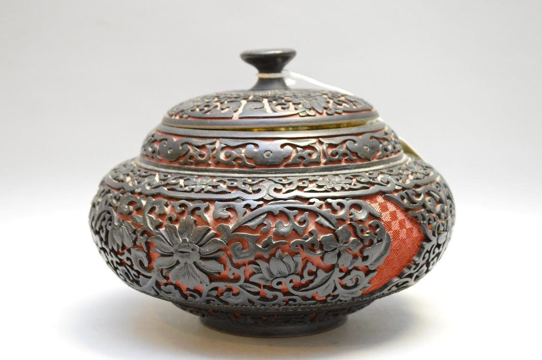 Chinese Cinnabar Urn & Cover.  Condition: good with no