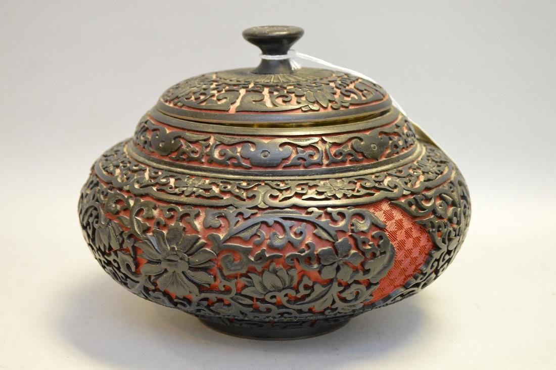 Chinese Cinnabar Urn & Cover.  Condition: good with no - 2