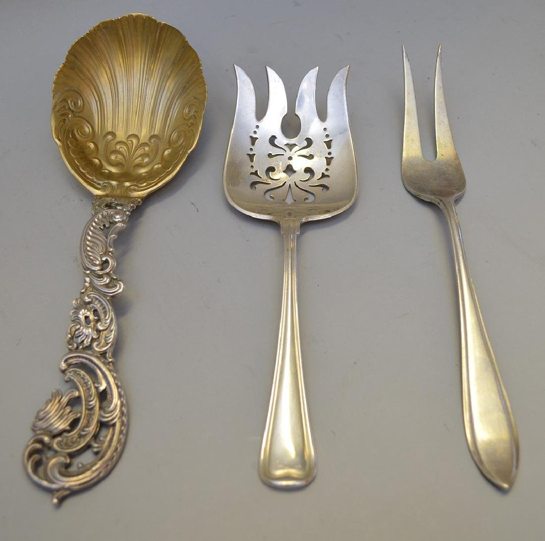 """3 Sterling Serving Pieces.  Largest Spoon Lth. 9 1/8""""."""