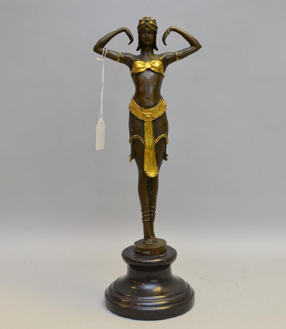 Bronze Sculpture Deco Dancer on a marble base.
