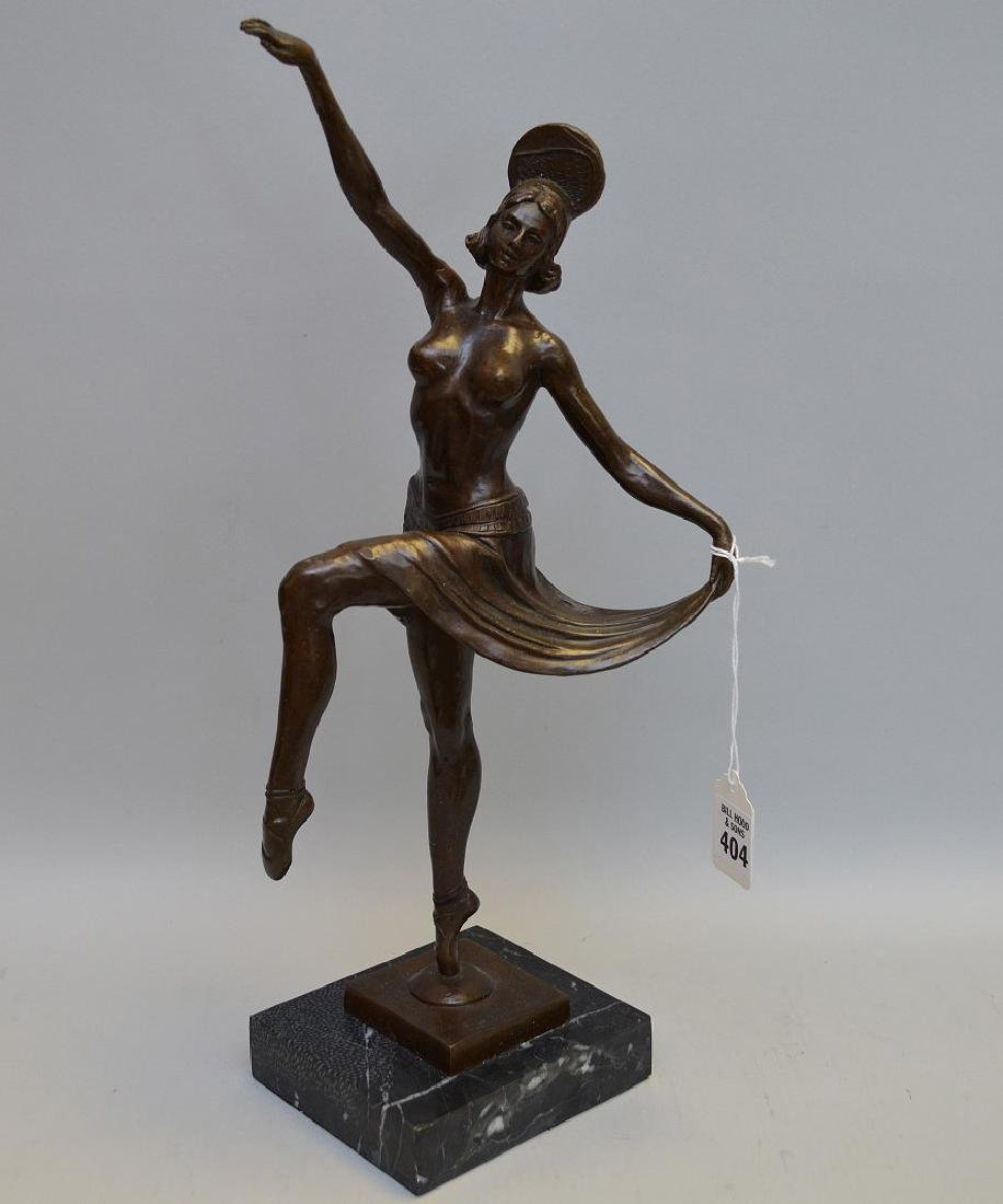 Bronze Deco Dancer indistinctly signed on a square