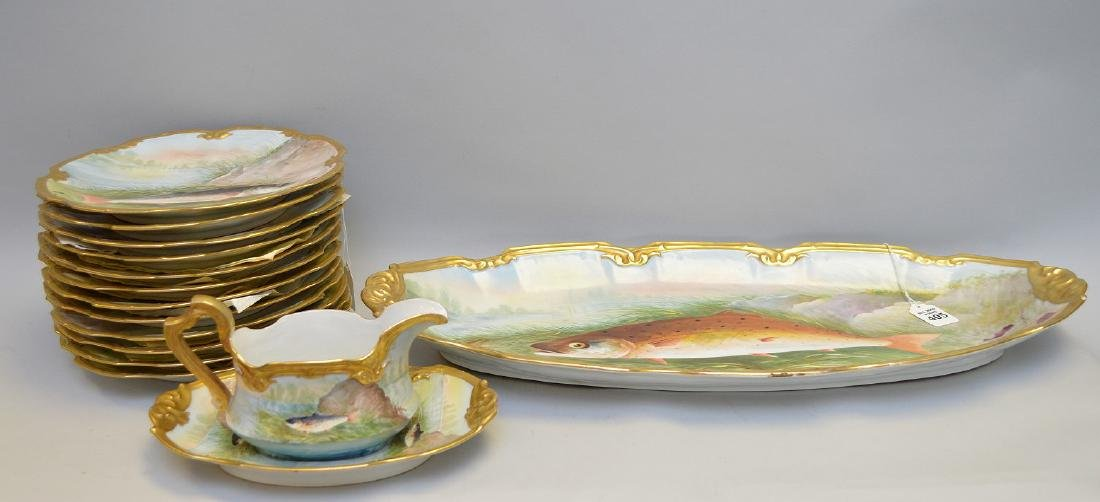 15 Piece Limoges Handpainted, French Porcelain, Fish