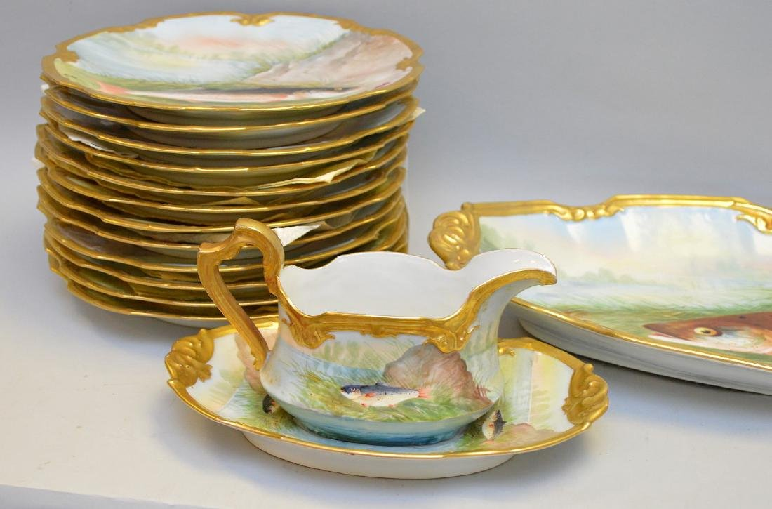 15 Piece Limoges Handpainted, French Porcelain, Fish - 2