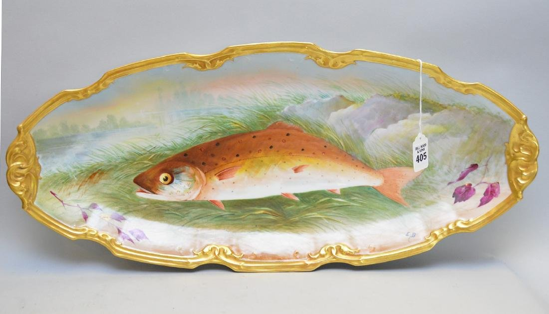 15 Piece Limoges Handpainted, French Porcelain, Fish - 4
