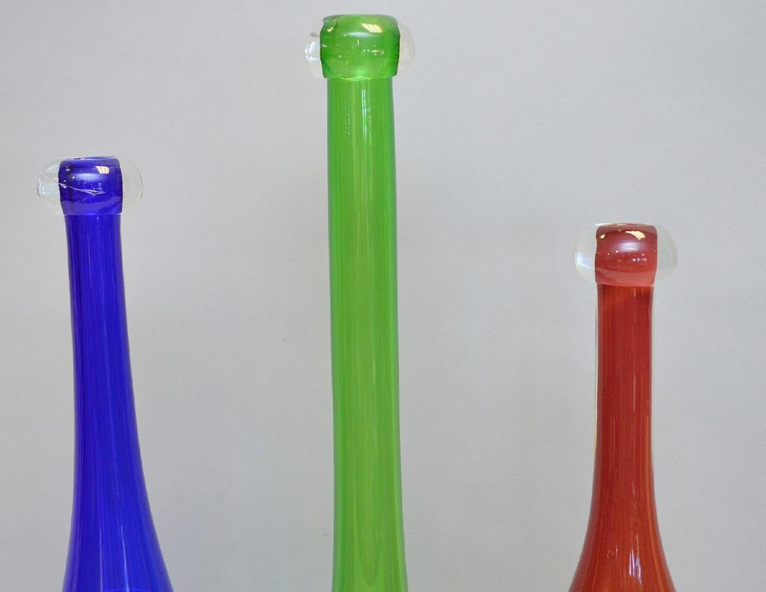 "3 art glass bottles, red (15""h), blue (16""h) and green - 2"