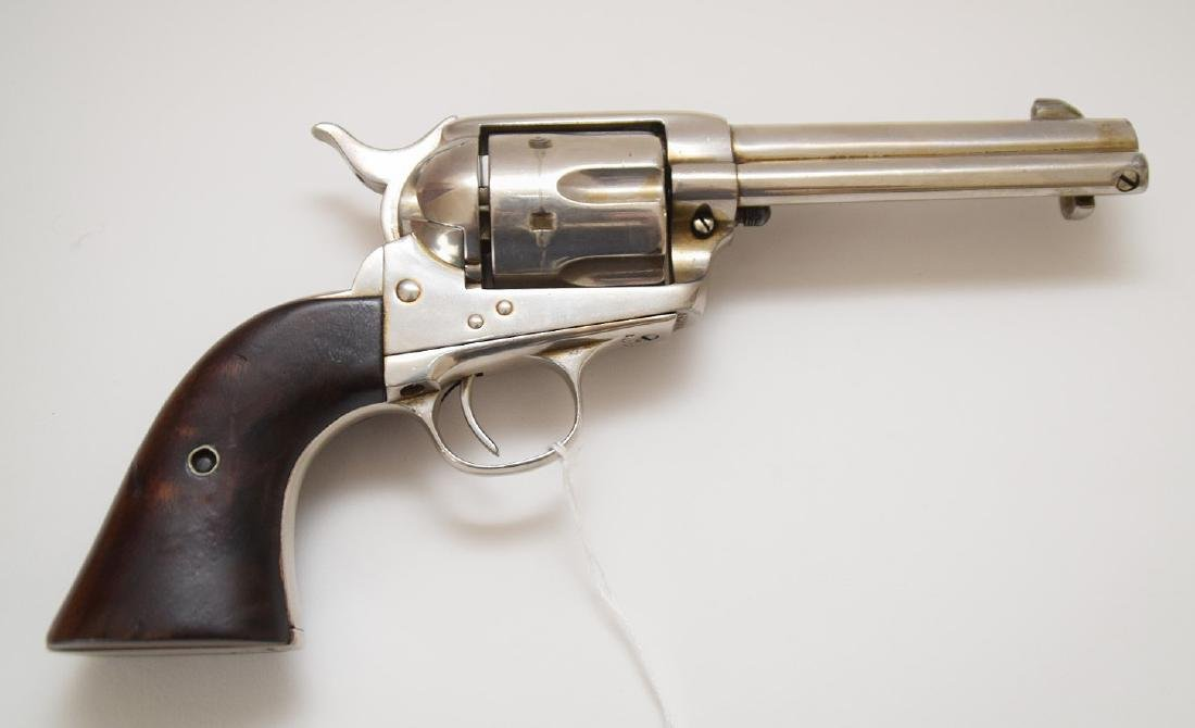 Colt 6-Shooter, Frontier Model, Nickel Receiver, Walnut - 4