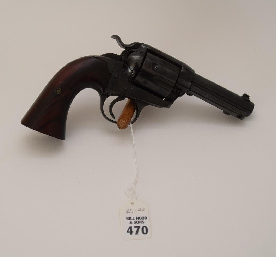 "Bisley Revolver, Wooden Grip, Barrel Length 4"", Serial"