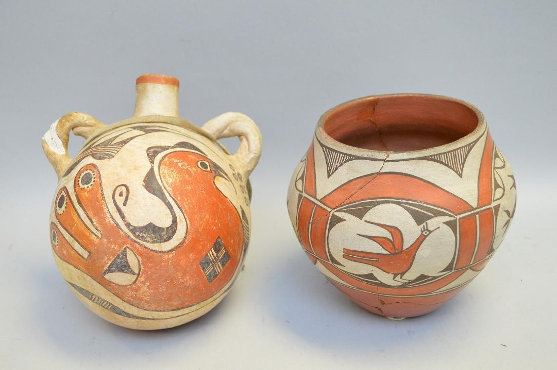 Polychrome Native American Pueblo Pottery Olla & Jug -