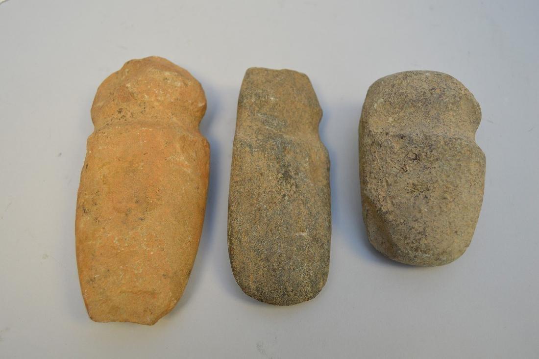 "Three Pre-Columbian stone axe heads, 3 3/4"" to 5 5/8"". - 2"
