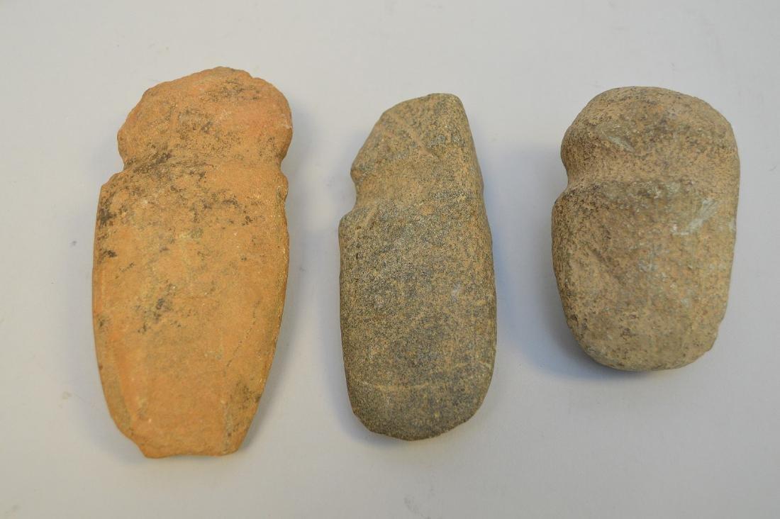 "Three Pre-Columbian stone axe heads, 3 3/4"" to 5 5/8"". - 3"
