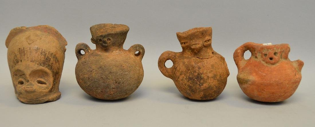Four Small Pre-Columbian Animal Face Effigy Vessels, El