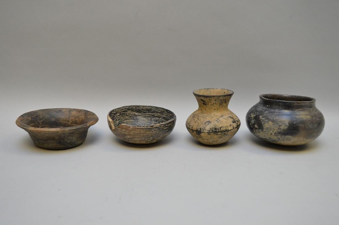 Four Pre-Columbian Black Ware Pottery Vessels -