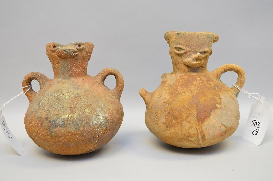 Two Pre-Columbian animal faced effigy pottery vessels,